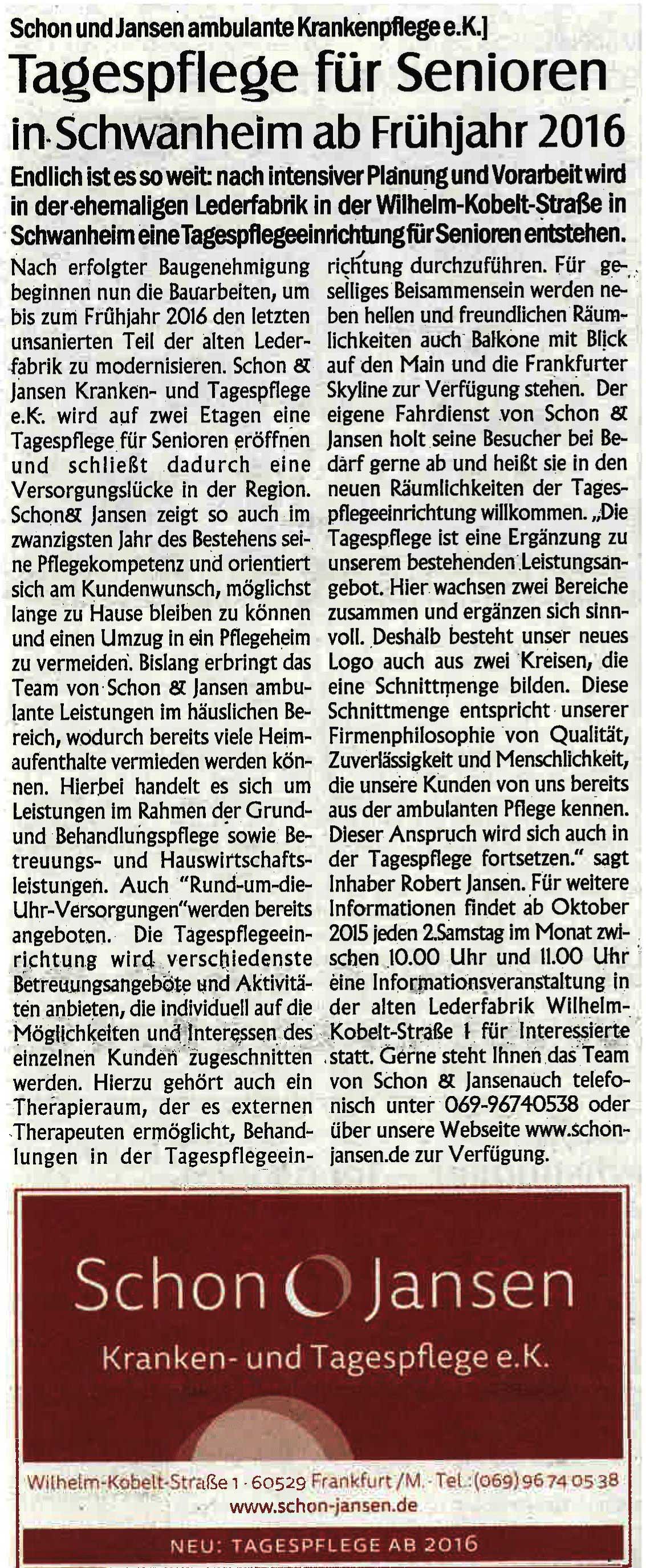 Tagespflege Schin & Jansen Presseartikel